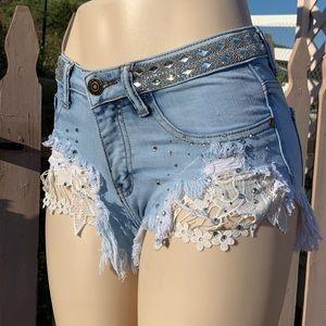 Machine distressed denim shorts rhinestone & lace